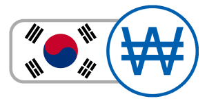 buy currency online flag south korean won red white blue yin yang