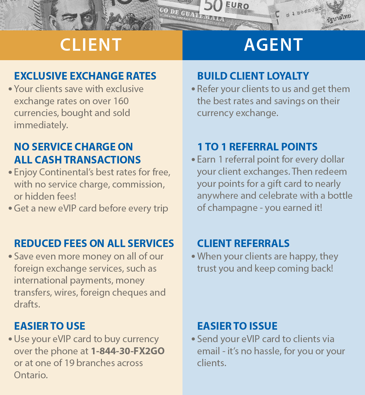 Travel Agent E-VIP card Continental Currency Exchange better exchange rates infographic chart with benefits