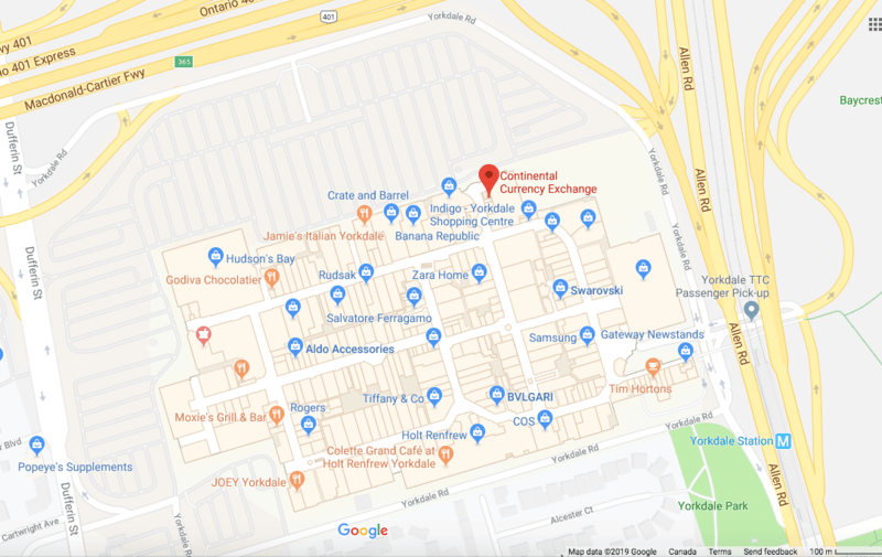 yorkdale mall toronto foreign currency exchange branch map